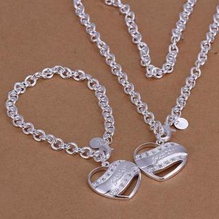 women 925 sterling silver Plated heart pendant necklace & bracelet jewelry sets