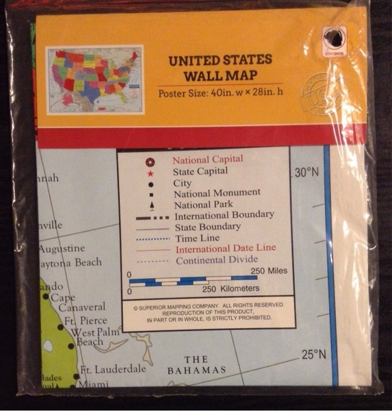 Free United States wall map poster size