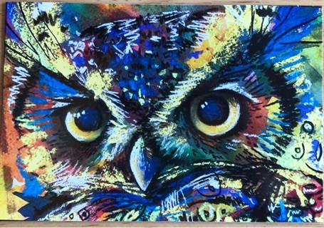 """BEAUTIFUL OWL PAINTING - 4 x 5"""" MAGNET"""