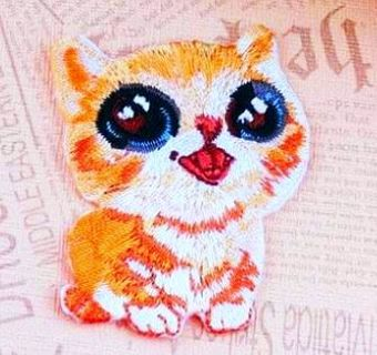 NEW Kitten IRON ON Patch Cute Cat Embroidered Patches Clothing Badge