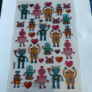 〃✿ Robot Love Glitter Dimensional Sticker Sheet BRAND NEW ✿〃