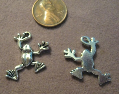 2 Silvertone Pewter Frog charms