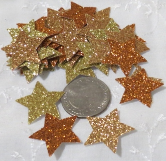 Gold, Copper and Bronze Glittery Cardstock  Stars 46
