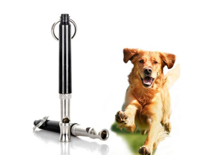 Dog Whistle Ultrasonic Sound Adjustable Pitch Training Bark Control Trainer Metal Silver