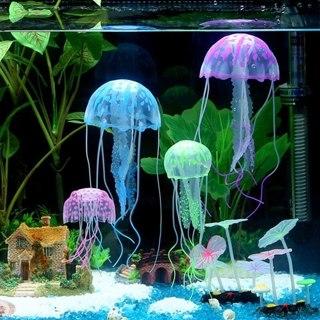 3Pcs Random Artificial Swim Glowing Effect Jellyfish Aquarium Decoration Fish Tank