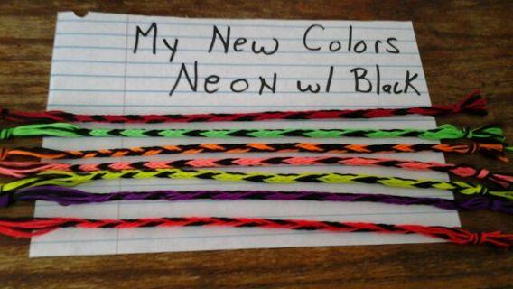 New Color HandMade 2 Neon & Black Bracelets **See Description**