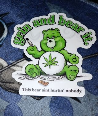 GRIN AND BEAR IT (WEED BEAR) MATTE PRINTED WATERPROOF STICKER 3X3 INCHES
