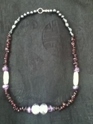 Life Blood,  Garnet & Hematite Tribal Necklace