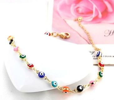 Evil eye bracelet anklet small beads colorful New