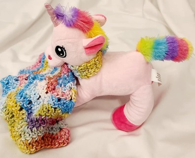 "Baby Security Cuddle Blankie 7"" 8"" CROCHET BLANKET***UNICORN***"