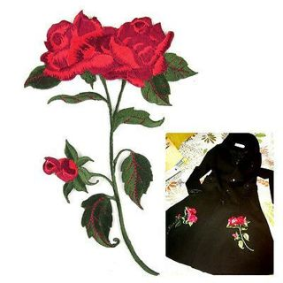 Red Rose Flower Fabric Embroidered Applique Iron on Sew Clothing Craft Patch DIY