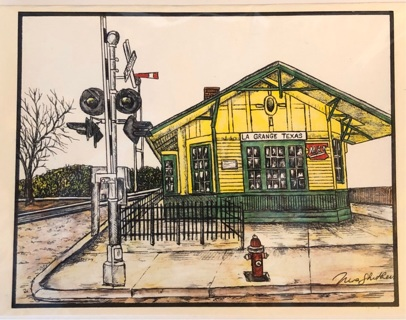 "Train Depot - 5 x 7"" Art Card by artist Nina Struthers - GIN ONLY"