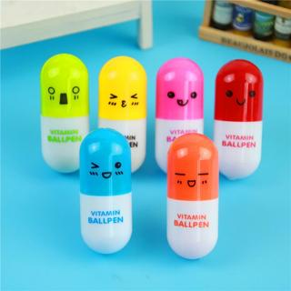 6 Pcs Cute Kawaii Capsule Creative Pills Ball Ballpoint Pens Ballpen For School Writing Supplies S