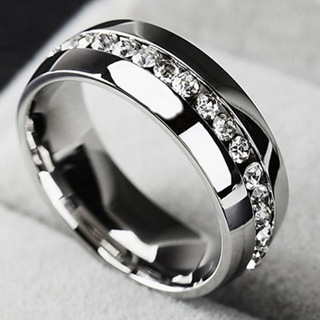 Unisex Stainless Steel CZ Wedding Ring Size 7 Brand New