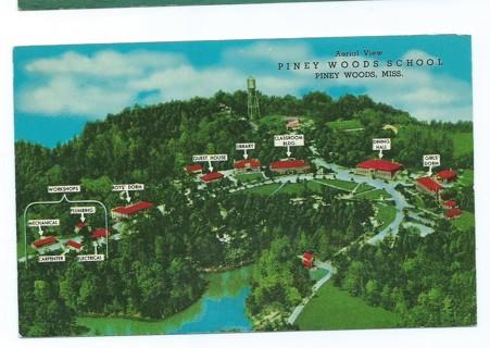 Vintage Unused Postcard: Air View of Piney Woods School, Piney Woods, Miss