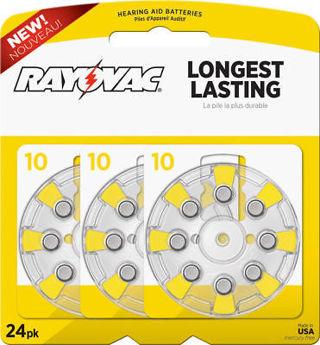Rayovac Mercury Free Size 10 Hearing Aid Batteries, 24 pack L10ZA-24ZM