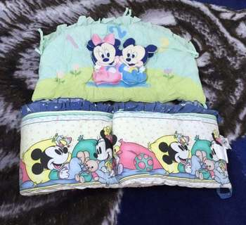 Disney VINTAGE Crib Bumper Lining Padded Mickey