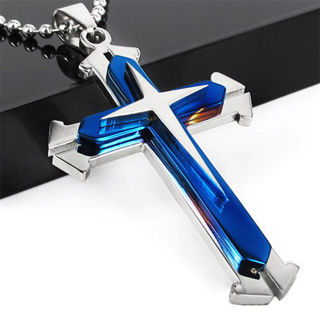 Unisex Men Stainless Steel Cross Blue Silver Pendant Necklace Chain Jewelry Gift