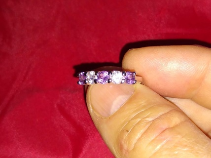 RING FANTASTIC LADIES WITH REAL NATURAL AMETHYST AND CZ'S STERLING SILVER BRAND NEW OLD INVENTORY.