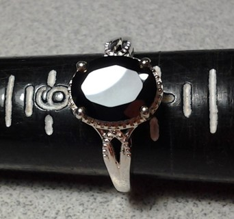 STS Black Spinel Sapphire .925 Gemstone Ring Size 6 3/4