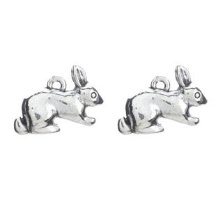 10pcs/lot Rabbit Charms Antique Silver Tone Animal Charms Pendant For Choker Necklace Diy Jewelry