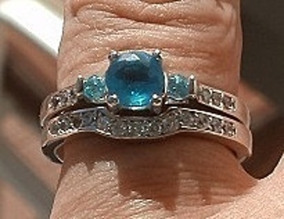 LOVELY STERLING SILVER SKY BLUE AQUAMARINE & TOPAZ WEDDING RING SET SZ 8 FREE GIFT!