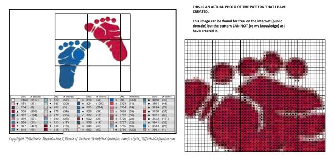 Baby Feet Cross Stitch Pattern