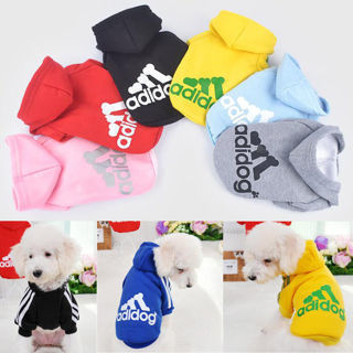 Winter Casual Adidog Pet Dog Clothes Warm Hoodie Coat Jacket Clothing For Dog