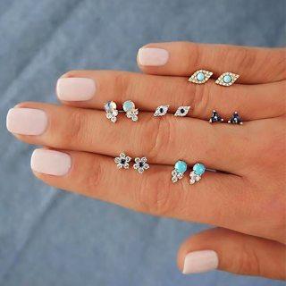12Pcs Bohemian Fashion Retro Eye Gem Flower Crystal Geometric Earrings Set Women Party Charm