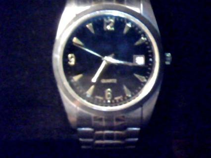 silver tone used mans quartz watch