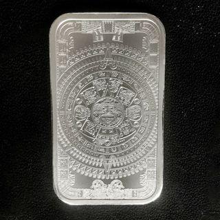 The Aztec Calendar Stone 1 oz .999 Silver Bar Cuauhtemoc Eagle Snake