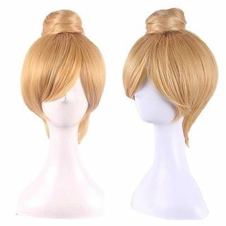 Anime Cos Princess Bun Blonde Synthetic Straight Short Cosplay Tinker Bell Wig