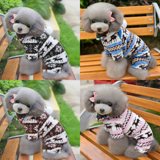 Pet Winter Velvet Clothes Dog Pajama Jumpsuit Cute Puppy Cat Hoodie Coat Apparel