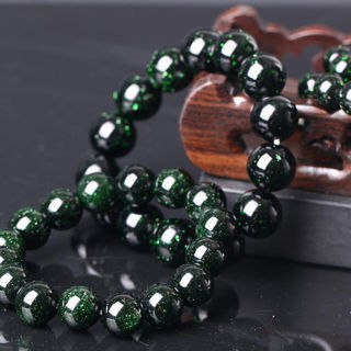 [GIN FOR FREE SHIPPING] Natural Gemstone Green Sand Stone Beads Bracelet