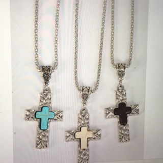 6 Pack Antique Look Cross Necklace Lot