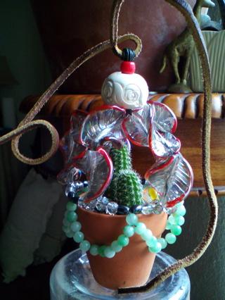 'ROSE QUARTZ' (Chamaelobivia) PEANUT CACTUS - 2 Pups in Glass & Gemstone, Hanging Terracotta Planter