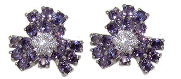 FLOWER EARRINGS in SWAROVSKI CRYSTAL Your Color Choice NEW Many CZ Colors QUALITY JEWELRY!!!
