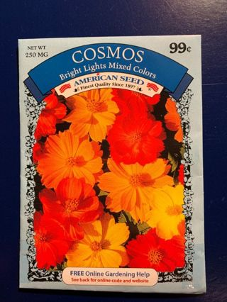 COSMOS SEEDS-BRIGHT LIGHTS MIXED COLORS-250 MG~LAST ONE!