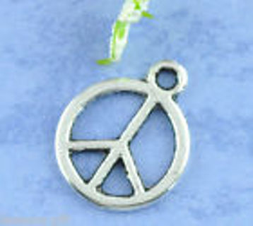 1 new silver tone peace sign charm Pendant