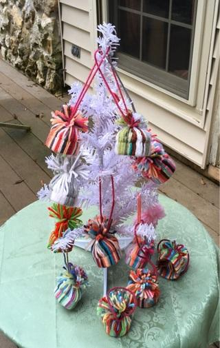 12 mini hat ornaments