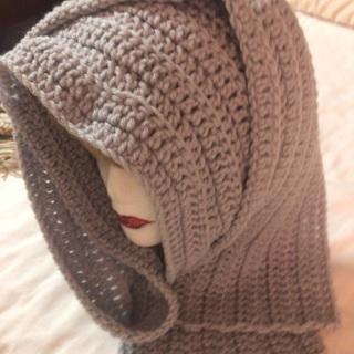Hand Crochet L Grey Long Scarf.
