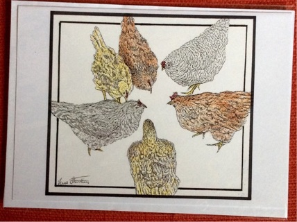 """FIVE HENS - 5 x 7"""" art card by artist Nina Struthers - GIN ONLY"""