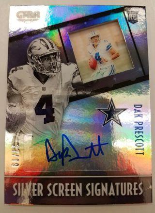 2016 Dak Prescott Silver Screen Autograph #D 27/99 Dallas Cowboys