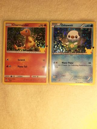 Pokemon 25th Anniversary McDonald's Foil Charmander and Oshawott