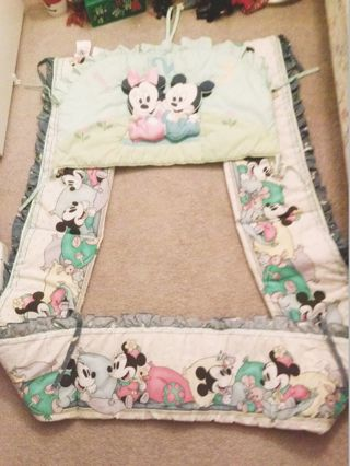 Baby Crib Bumper Lining Padded Baby Mickey & Minnie Mouse Liner FREE SHIPPING
