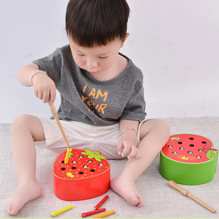 3D Puzzle Baby Wooden Toys Early Childhood Educational Toys Catch Worm Game Color Cognitive