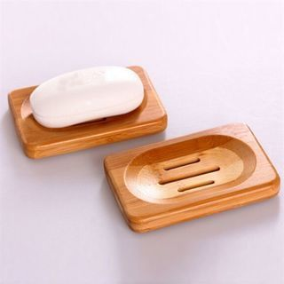 2Pcs Hot Natural Bamboo Wood Bathroom Shower Soap Tray Dish Storage Holder Plate Tool