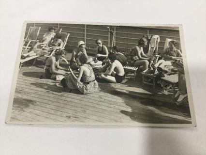 1930's photo postcard swimsuits ocean liner