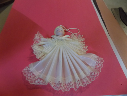 4 inch angel ornament porcelain head painted accordian fan folded gown
