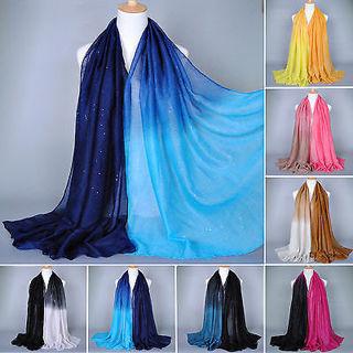 Women Muslim Islamic Gradient Glitter Long Hijab Scarf Shawl Wrap Pashmina Stole